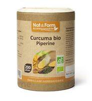 Nat&Form Eco Responsable Curcuma + Pipérine Bio Gélules B/200 à MARSEILLE